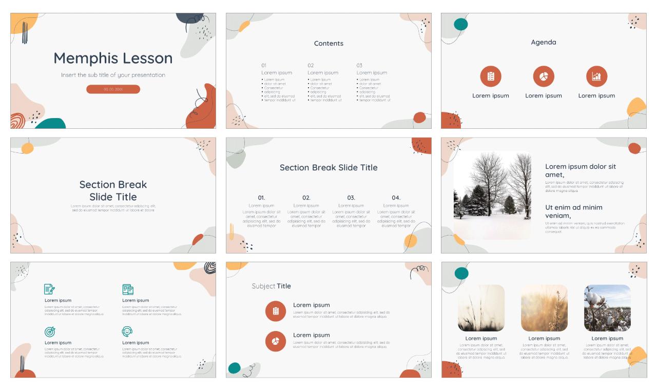 Memphis Lesson Free PowerPoint Template Google Slides Theme