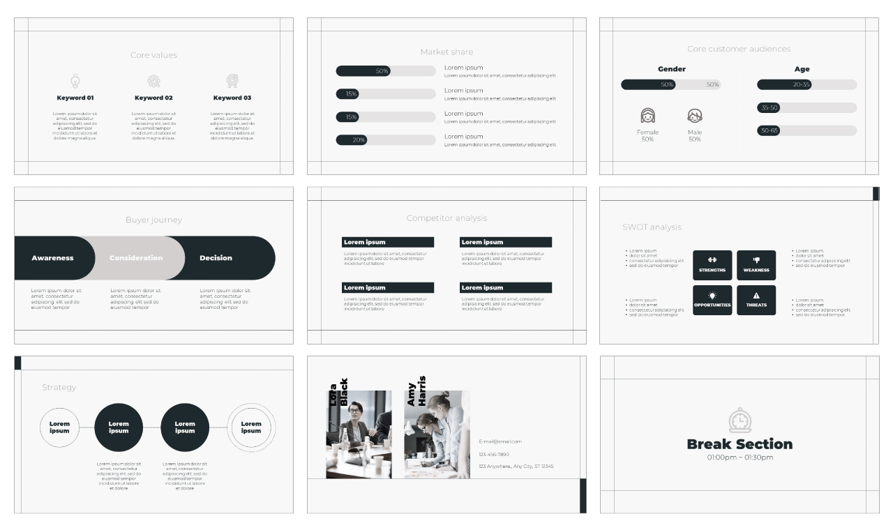 Minimalist Marketing PowerPoint Template and Google Slides Theme Free download