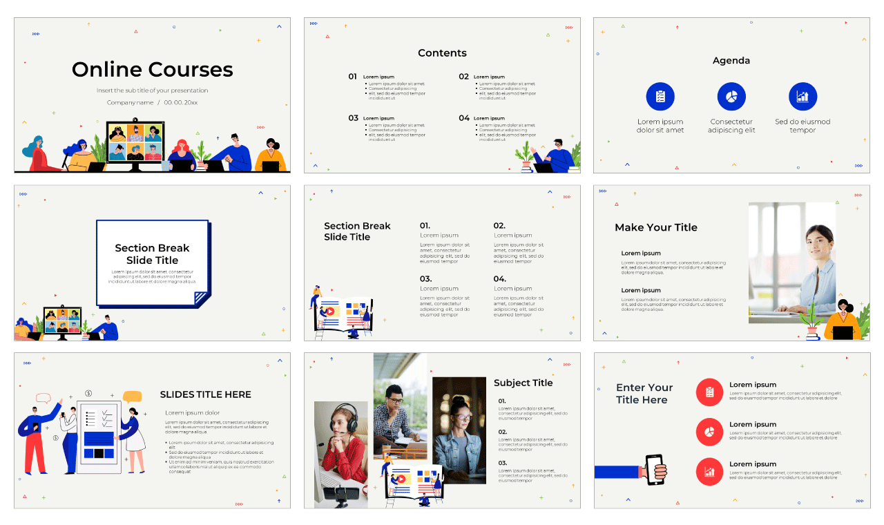 Online Courses Free PowerPoint Template Google Slides Theme