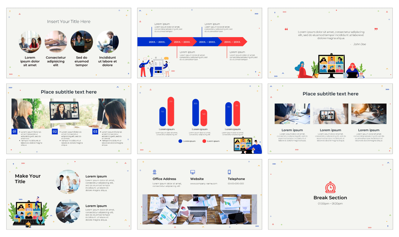 Online Courses PowerPoint Template and Google Slides Theme Free download