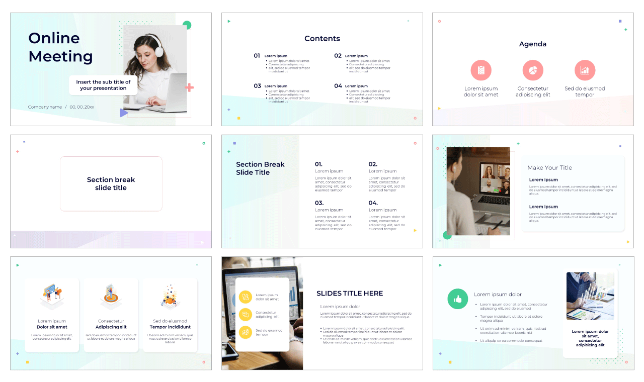 Online Meeting Free PowerPoint Template Google Slides Theme