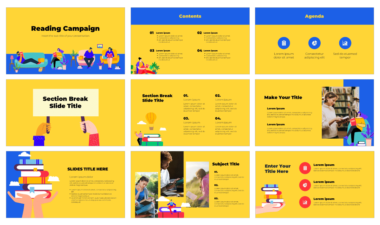 Reading Campaign Free PowerPoint Template Google Slides Theme