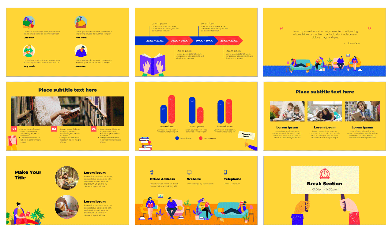 Reading Campaign PowerPoint Template and Google Slides Theme Free download