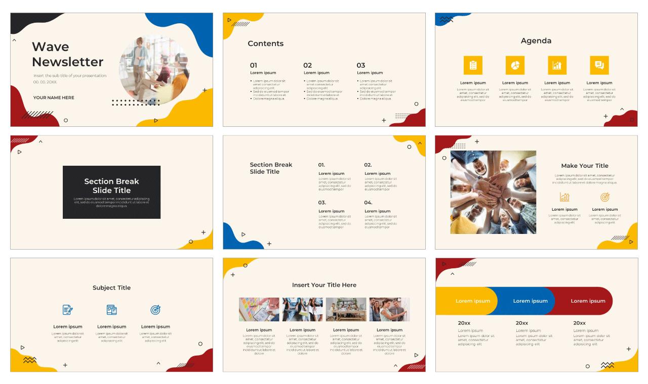 Wave Newsletter Free PowerPoint Template Google Slides Theme