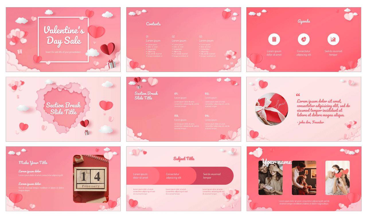 Valentine's Day Sale Free PowerPoint Template Google Slides Theme