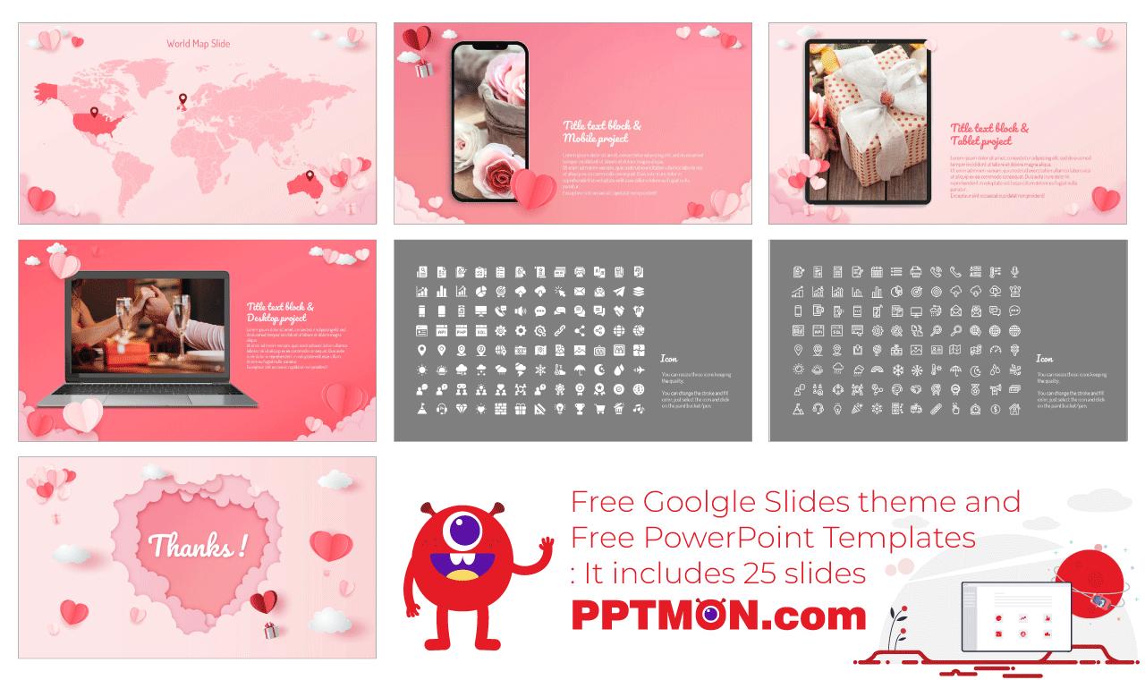 Valentine's Day Sale Presentation background design Free PowerPoint Template Google Slides Theme