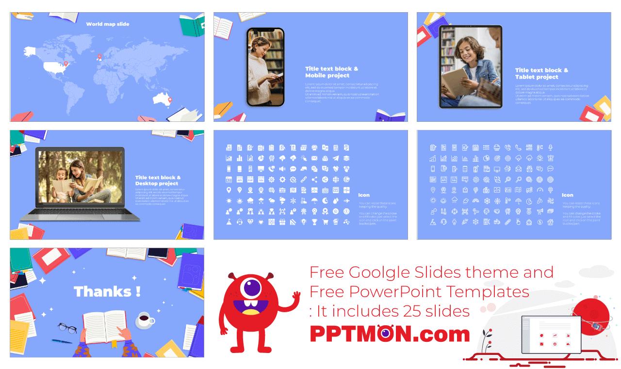 Book Day Presentation Background Design Free PowerPoint Template Google Slides Theme