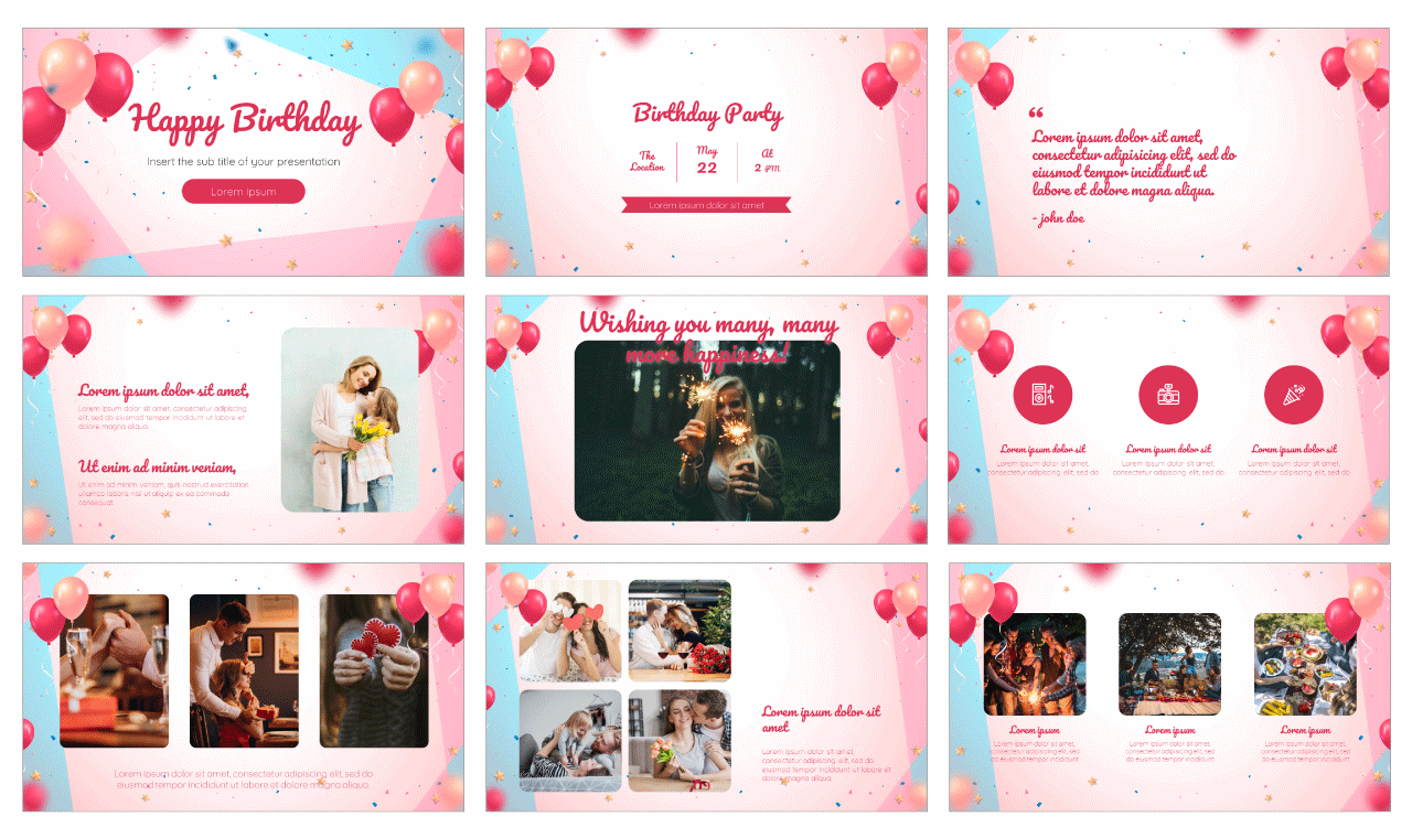 Colorful Birthday Free PowerPoint Template Google Slides Theme