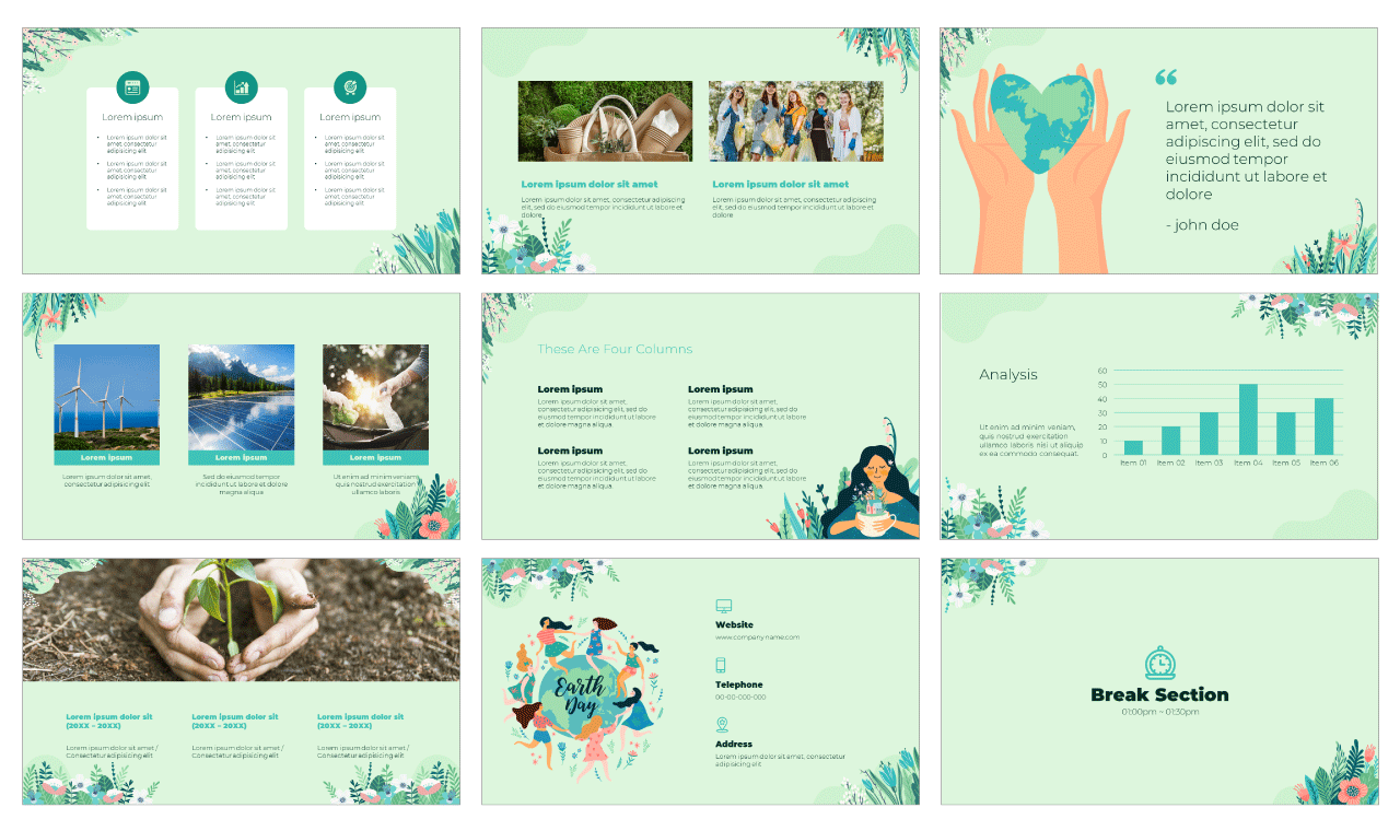 Earth Day PowerPoint Template Google Slides Theme Free Download