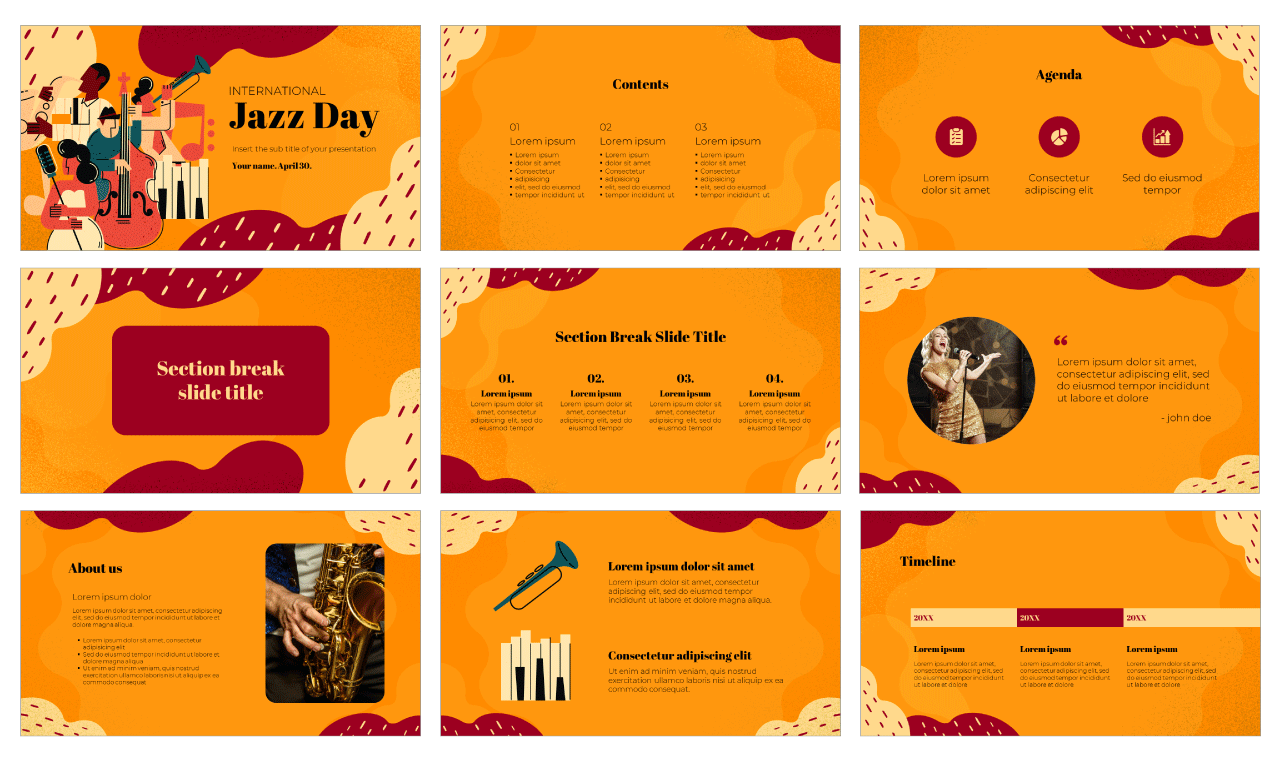 Jazz Day Free PowerPoint Template Google Slides Theme