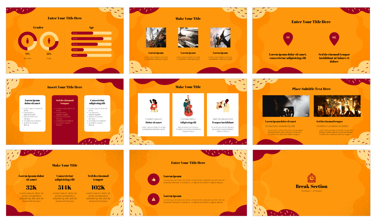 Jazz Day PowerPoint Template Google Slides Theme Free Download