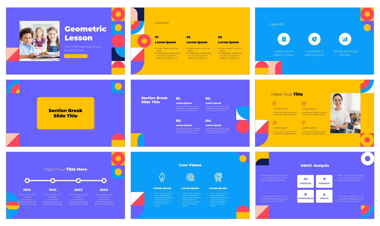 Geometric Lesson Free PowerPoint Template Google Slides Theme