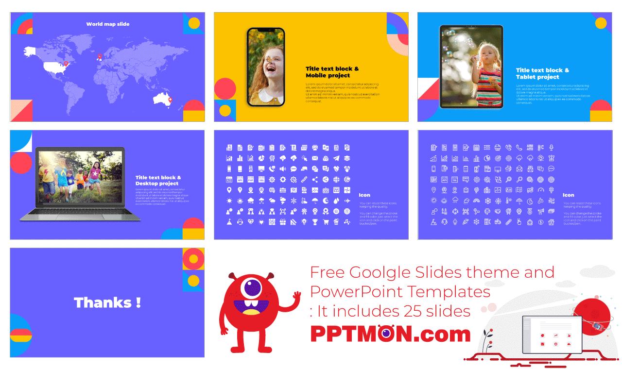 Geometric Lesson Presentation background design Free PowerPoint Template Google Slides Theme